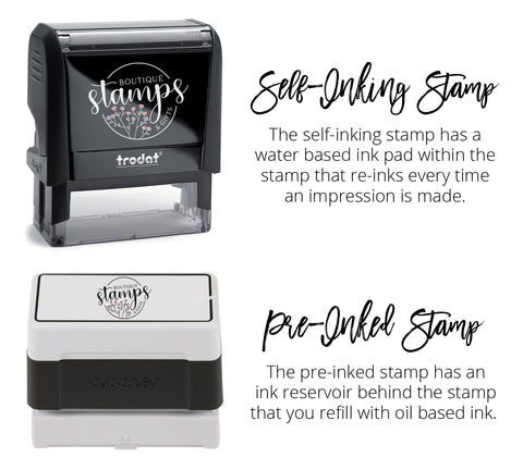 The self-inking stamp has a water based ink pad within the stamp that re-inks every time an impression is made. The pre-inked stamp has an ink reservoir behind the stamp that you refill with oil based ink.
