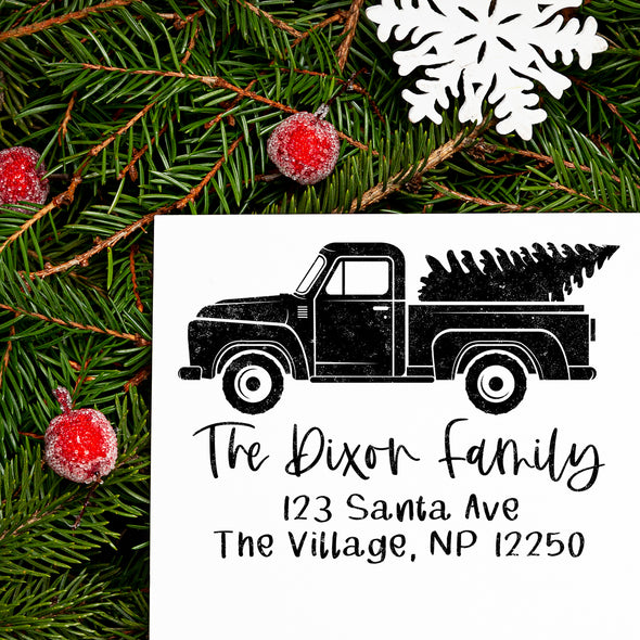 Christmas Truck Address Stamp