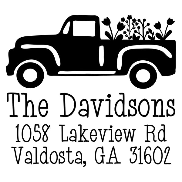 Floral Truck Address Stamp
