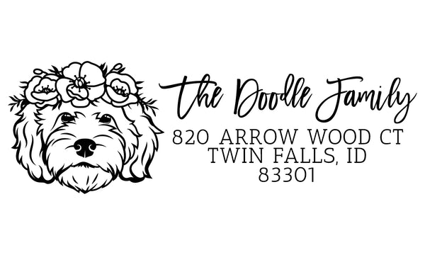 Floral Goldendoodle Address Stamp