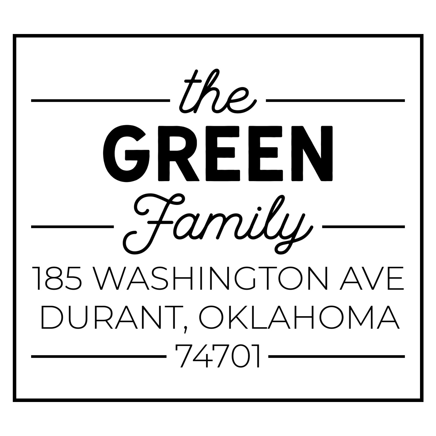 The Green Family Address Stamp