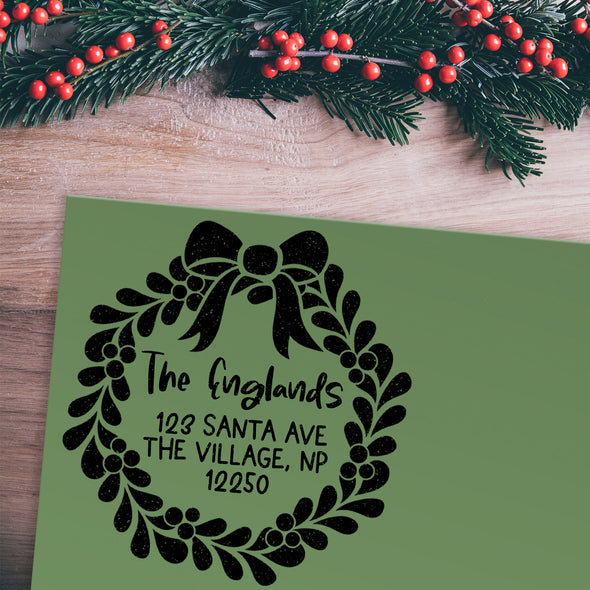 Christmas Wreath Address Stamp