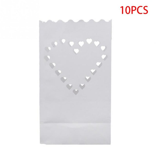 10PCS Wedding Heart Tea Light Paper Lanterns