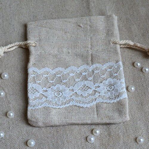 50 Lace Linen Gift Drawstring Favour Bags 8x10cm, 9x12cm or 9x15cm - VintageAndRusticWeddings