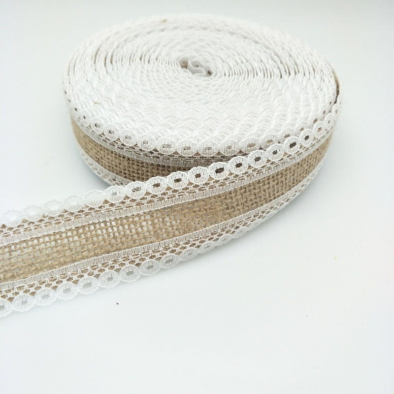 5m Lace Edged Roll Of Natural Jute Burlap