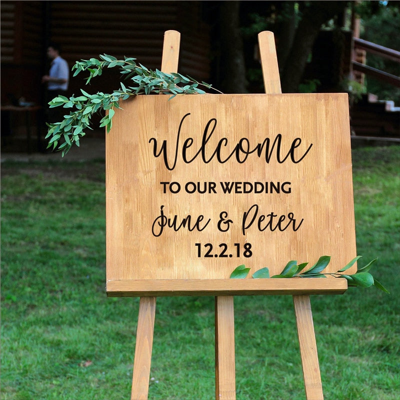 Bride and Groom Names Wedding Date Welcome Sticker Sign