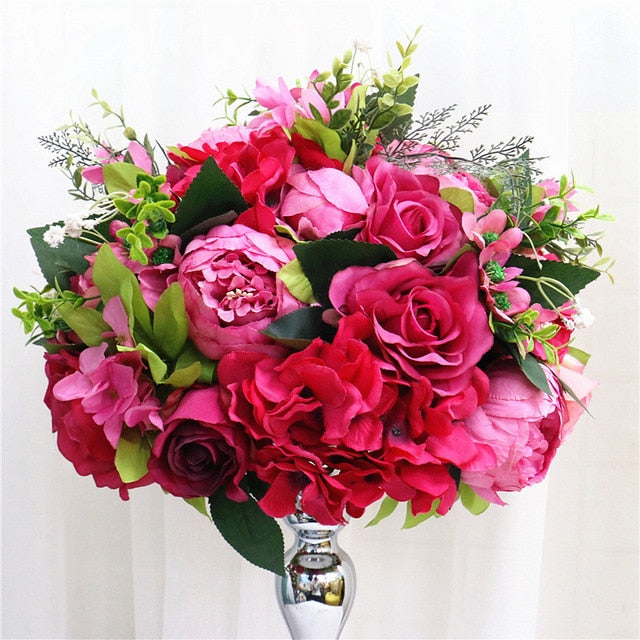 35cm, 45cm or 50cm Silk Rose Hydrangea Peonies Artificial Flower Decorations