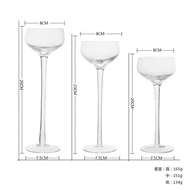 3 piece Set Handmade Glass Candle Holders