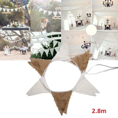 3.2M 12 Flags Lace or Lace and Hessian Wedding Decoration Vintage Bunting