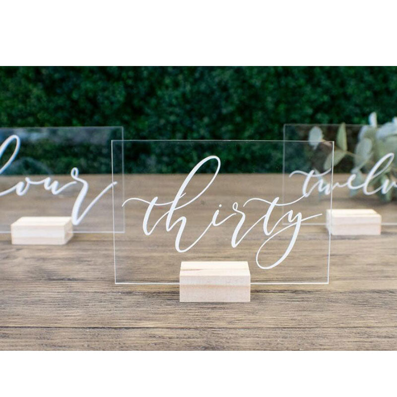Clear Acrylic Sign Wedding Table Numbers