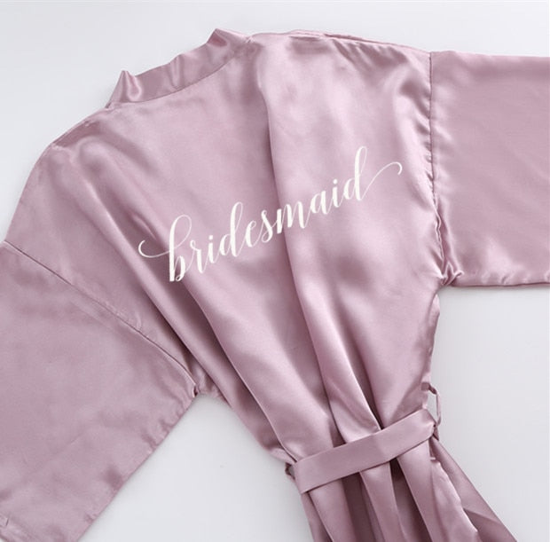 Mauve or white satin bathrobe for bride and hen party or bridesmaid