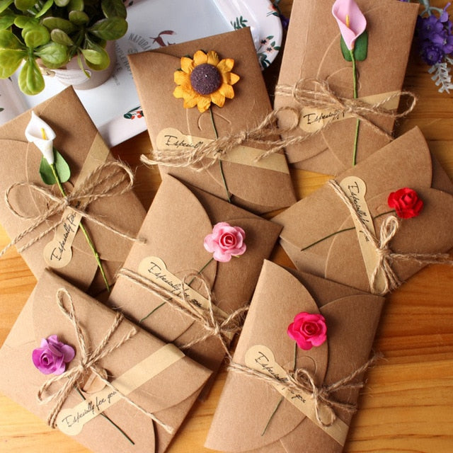 5pcs Retro DIY Kraft Paper Invitation Greeting Card