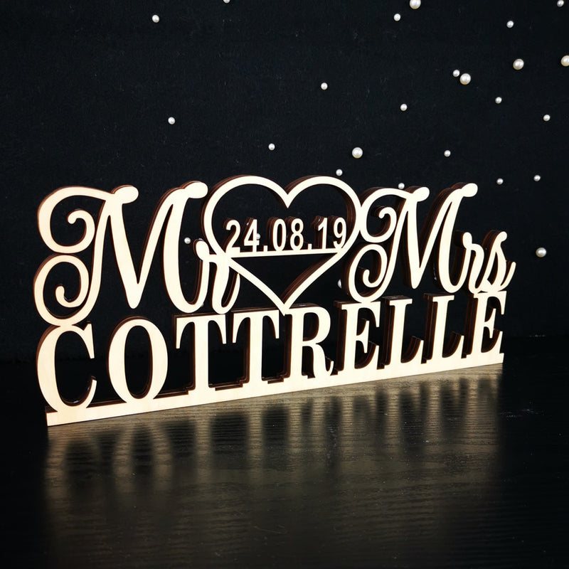 Wedding Table Sign with Last Name And Date