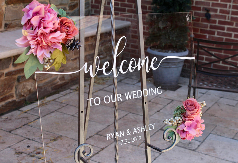 Welcome to Our Wedding Clear Acrylic Welcome Sign - VintageAndRusticWeddings