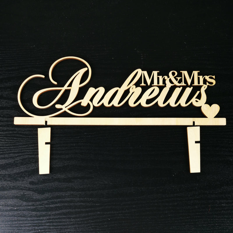 Mr&Mrs Last Name Wedding Table Name Sign
