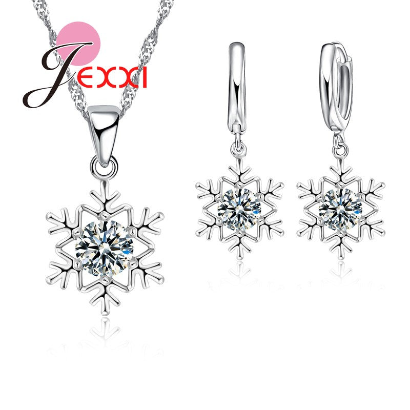 Luxury Bridal Jewellery Set 925 Sterling Silver Zircon Crystal Necklace and Earrings Sets