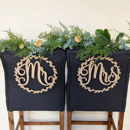 Bride And Groom Mr And Mrs Chair Sign - VintageAndRusticWeddings