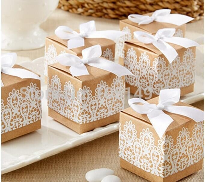 10 pieces Small Gift Rustic and Lace Kraft Favour Box With Ribbon