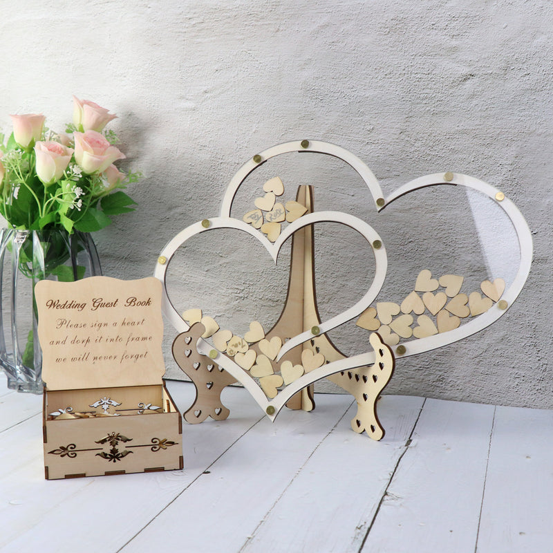 Double Heart Shape Wedding Guest Book