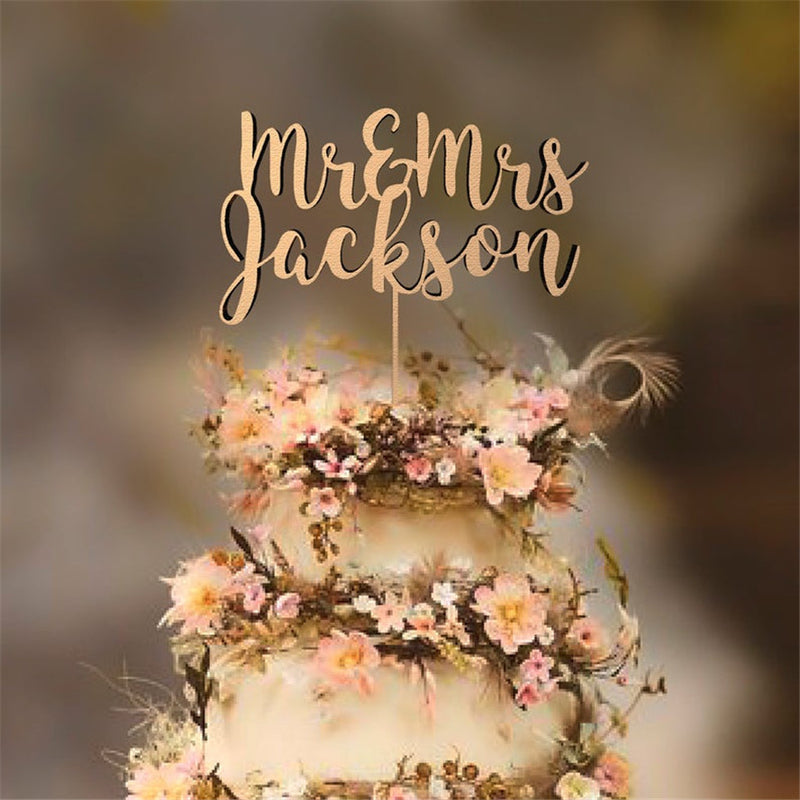 Mr Mrs Surname Cake Topper