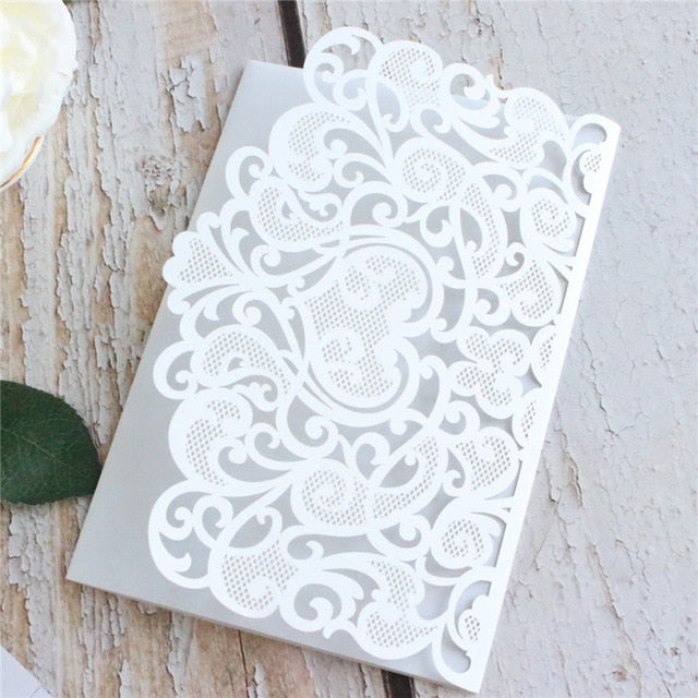 Floral Laser Cut Pocket  3D wedding invitation Card