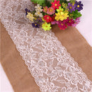 Vintage White Christmas Lace Hessian Burlap Table Cloth