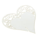 Cut Heart Floral Wine Glass Place Cards