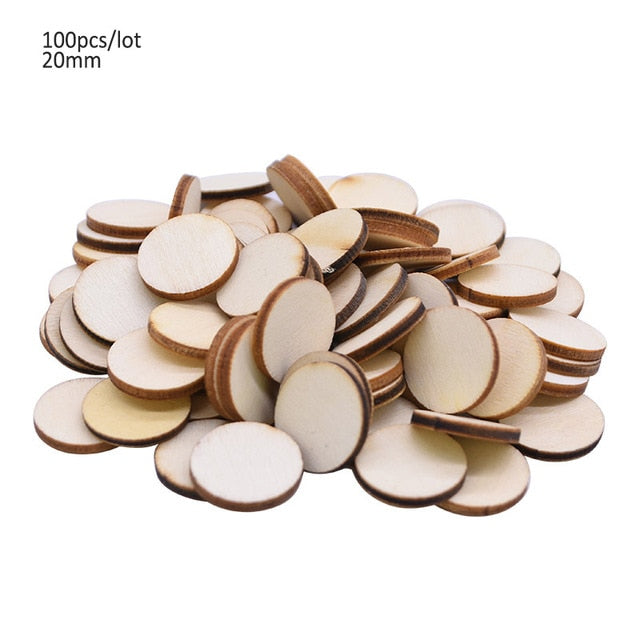 50/100pcs Blank Heart Wood Slices