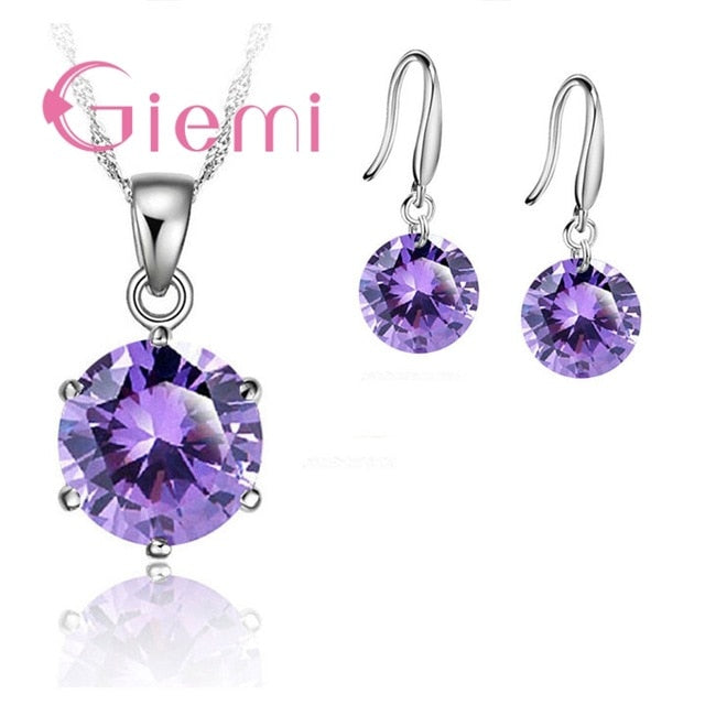 925 Sterling Silver Delicate Round Crystal Necklace Earrings Gift Jewellery Set
