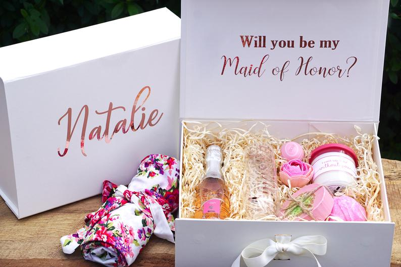 Personalised 'Will you be my Bridesmaid?' Flower Girl or Maid of Honor proposal/gift box - VintageAndRusticWeddings