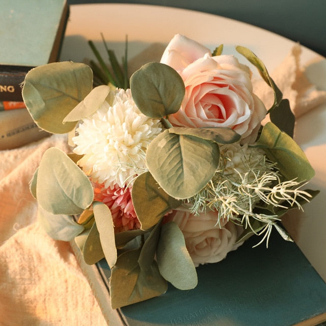 Rose and Eucalyptus Artificial Flower Bouquet