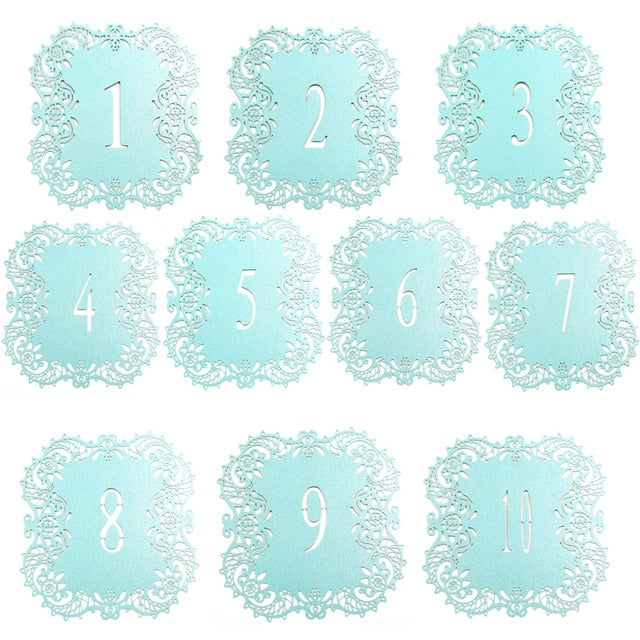 10 Piece Set Paper Card Wedding Table Numbers In White/Blue
