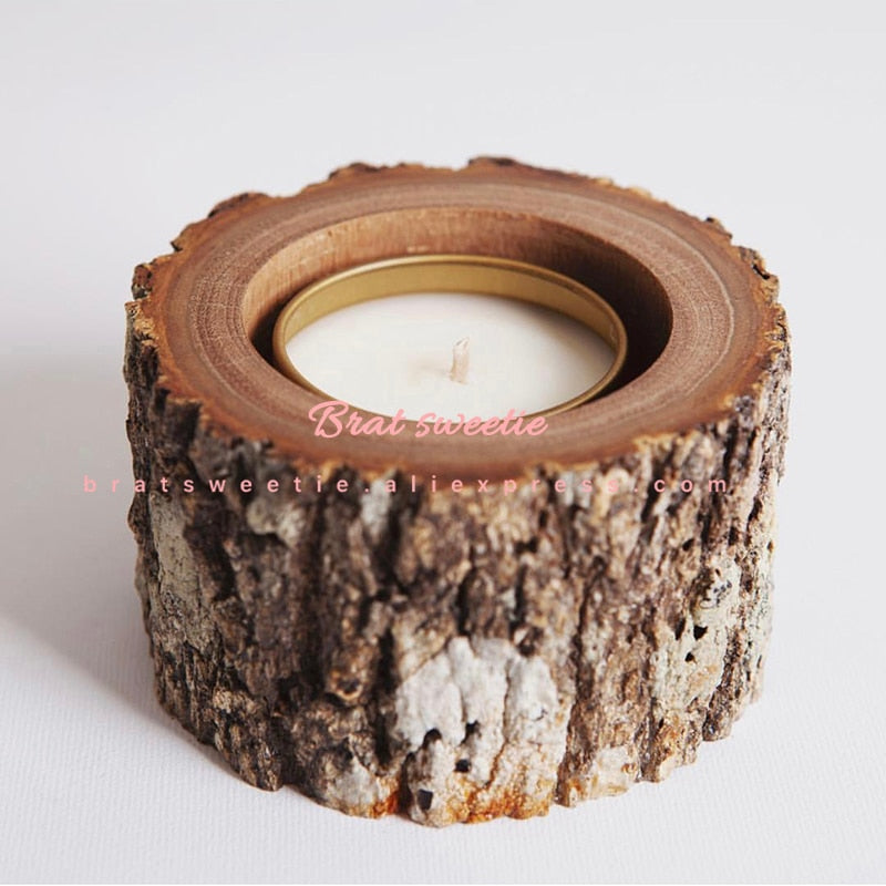 10 piece pack of 2.5cm Rustic Wood Candle Holders