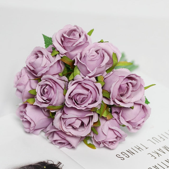 12 Head Bunch Of Artificial Silk Rose Flowers - VintageAndRusticWeddings