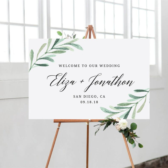 Floral Print Welcome To Our Wedding Rustic Welcome Sign