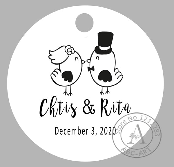 120 piece Set Of Personalised Circle Wedding Tags