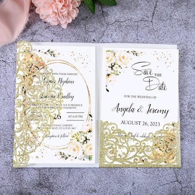 50pcs Filigree Wedding Invitation Cards