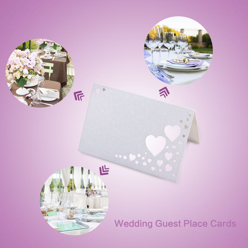 50pcs White Laser Cut Heart Place Name Cards