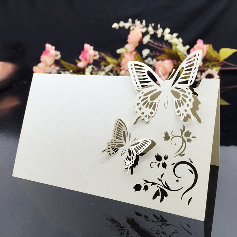20 Pack of Butterfly Laser Cut Design Table Name Place Cards