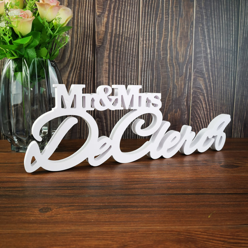 Personalized Mr & Mrs Surname Wedding Table Sign