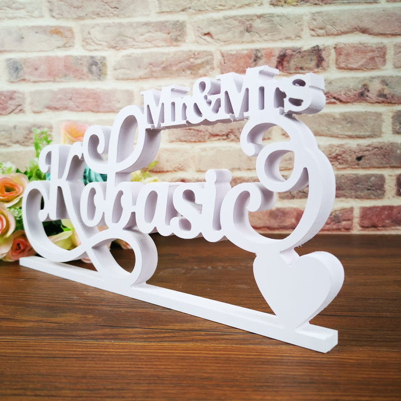Personalised White 'Mr And Mrs (with your name)' Wedding Sign