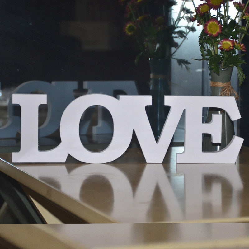 "Approx 31X9x1cm  ""Love"" White Letters Wedding Sign"