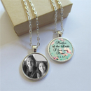 Personalised Mother of the Bride Jewellery Gift, Double Sided Photo Pendant with your Message/Photo