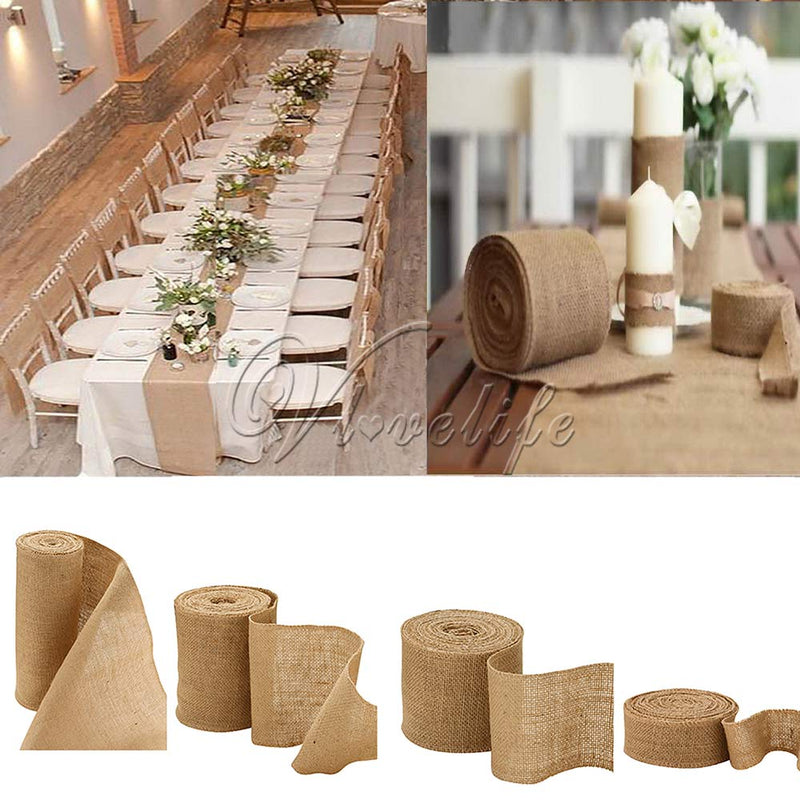 10m Natural Jute Hessian Burlap Table Runner