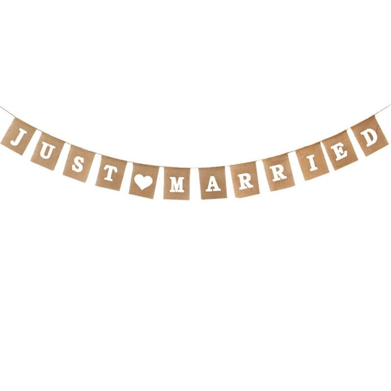 JUST MARRIED Letter Burlap Wedding Signs
