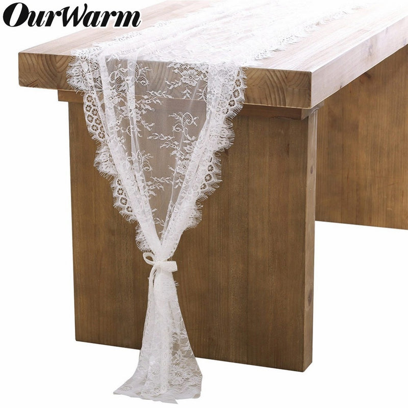 Floral Pattern V White Lace Table Runner