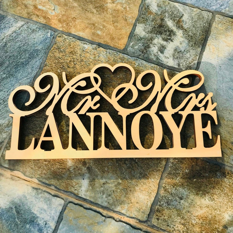Personalised 'Mr & Mrs' Wedding Table Sign