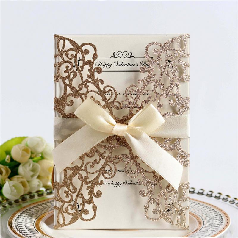 10 piece Laser Cut Bow Glitter Invitations