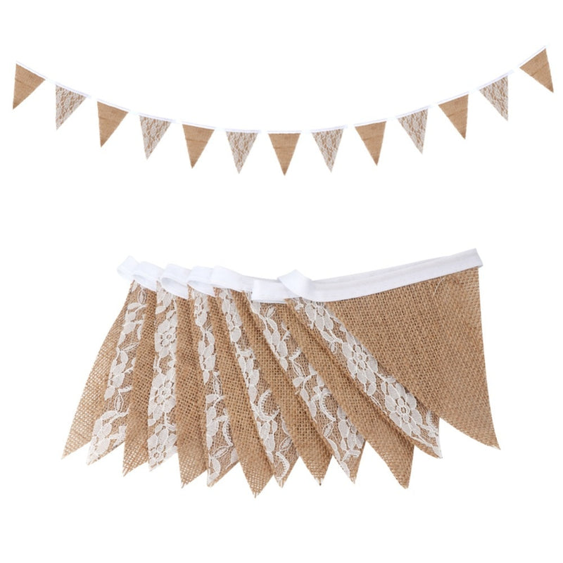 3m Vintage Flags Hessian Wedding Decoration Bunting