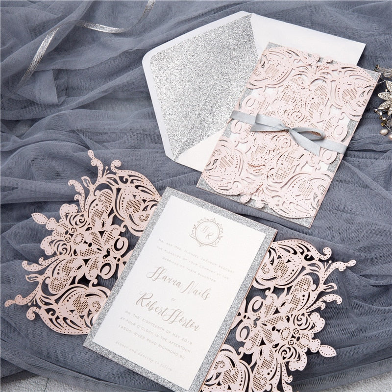 100 pieces Laser Floral Glittery Engagement and Wedding Invitation Cards